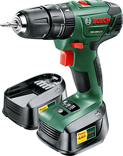 Bosch 06039A3371 PSB 1800 LI-2 Cordless Combi Drill with Two 18 V Lithium-Ion Batteries - Green