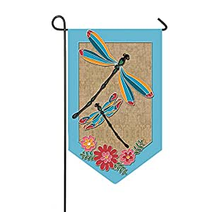 Dragonflies and Flowers Shaped Burlap Garden Flag
