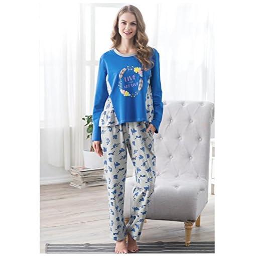 DMMSS-Signore-carino-manica-lunga-cotone-pigiama-Set