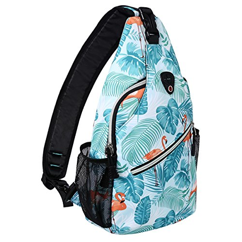 MOSISO Sling Backpack, Polyester Crossbody Shoulder Bag for Men Women Girls Boys, Flamingo