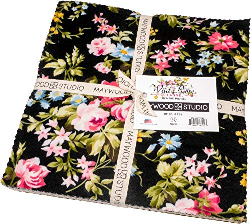 """Wild Rose Flannel 42-10"""" x 10"""" Squares by Marti Michell from Maywood Studios"""