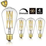 10W Edison Style Vintage LED Filament Light Bulb,ST64(ST21) Led Retro Bulb,100 Watt Equivalent Light Bulbs,Warm White 2700K,1200LM,Dimmable, E26 Medium Base Lamp, Antique Shape, (4 Pack)