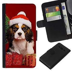 LECELL--Cuero de la tarjeta la carpeta del tirón Smartphone Slots Protección Holder For Samsung Galaxy A3 -- Navidad del perro de perrito --