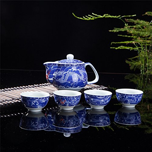 Exquisite 5 PCS Blue-And-White Dragon Design Ceramic Tea Pot Tea Cups Set In Beautiful Color Gift Box by THY COLLECTIBLES