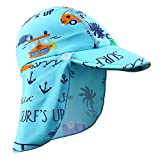 HUANQIUE Baby Toddler Sun Protection Hat UPF 50 + Flap Hat Blue 6-18month
