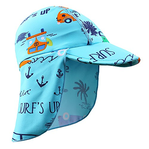HUANQIUE Baby Toddler Sun Protection Hat UPF 50 + Flap Hat Blue 4-6 T ()