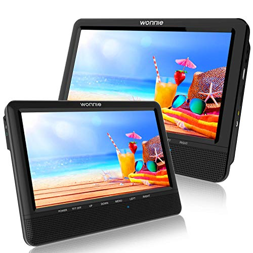 WONNIE 9.5 Car Dual Portable DVD Players, 1024x800 HD LCD TFT, USB/SD/MMC Card Readers, Built-in 5 Hours Rechargeable Battery, Stereo Sound, Regions Free, AV Out & in (Hd Car Dvd Player)