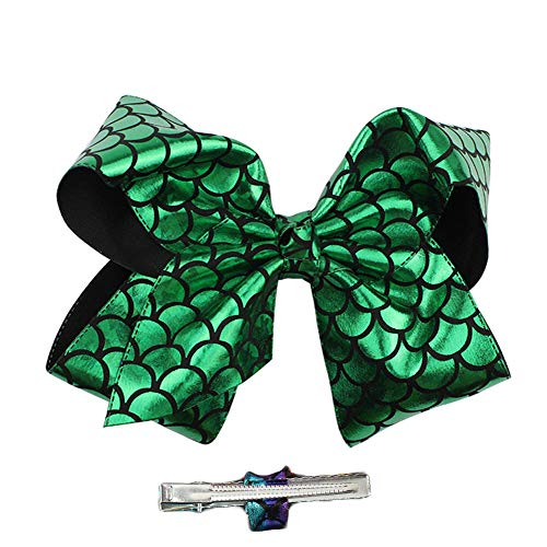 Girls Large Bow Hairpins Mermaid Fish Scale with Alligator Clip Hairgrips JB32 (Green, 7.8 Inch)
