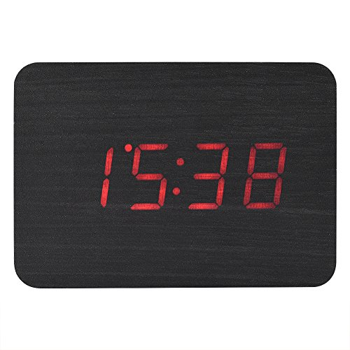 Fosa Wooden Electronic Digital Alarm Clock, LED Display Time