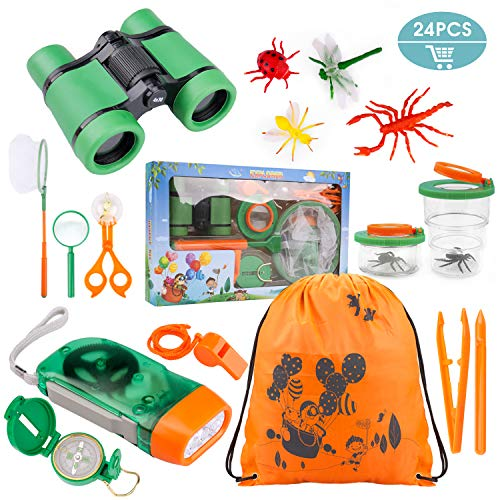 Ezire 24-in-1 Outdoor Exploration Kit for Young Children- Kids Binoculars Toy Set, Flashlight Compass Whistle Magnifying Glass Tweezers Bug Container Spider Backpack Great Gift for Boy Girl