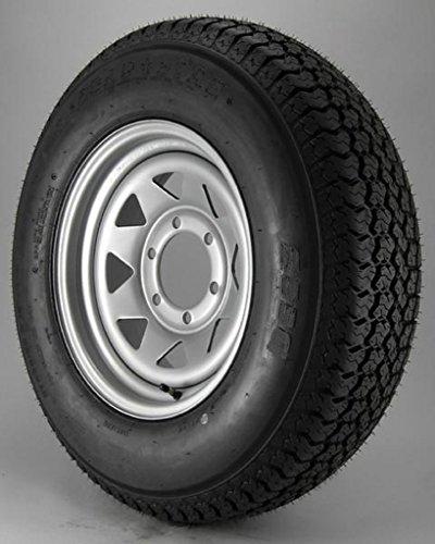 15 Spoke Silver Wheel - eCustomRim Radial Trailer Tire On Silver Rim ST225/75R15 Load D (6 Lug On 5.5