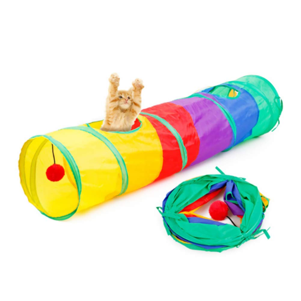 bulingbuling Cat Tunnel Tube with Hanging Fluffy Ball Folding Kitten Puppy Tube Interactive Play Toy Rainbow Cat Tunnel Toy