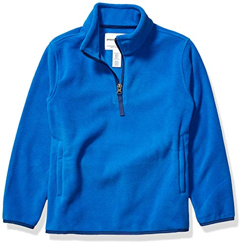 Amazon Essentials Boy's Quarter-Zip Polar Fleece Jacket, Royal Blue, Large