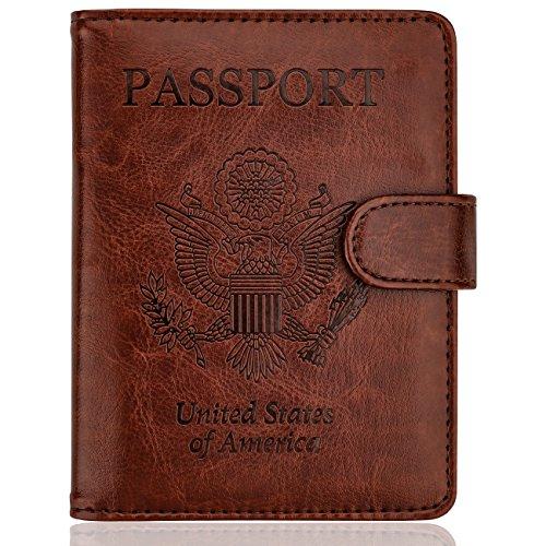 WALNEW Passport Holder Cover Case RFID Passport Travel Wallet,Coffe