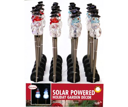 Alpine SOT841ABB Solar Snowman Stake with White LED Lights - Assorted Tray by Alpine