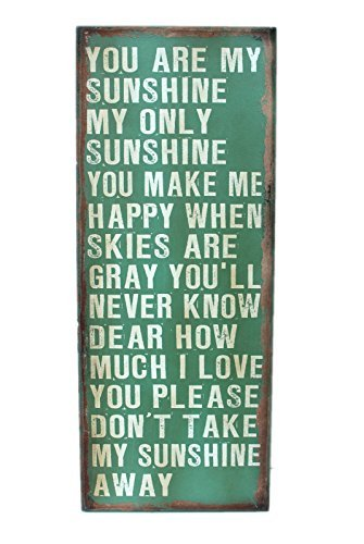 Attraction Design You are My Sunshine Wood Antique Wisdom Sign, Green