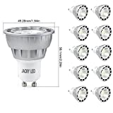 10x GU10 6W 60W Equivalent Warm White 3000K Ultra Bright Spot Light Lamp Bulbs,Glass Lens Replacement Bulb Equivalent to 50W-60 Watt Halogen,38 Degree Beam Angle New JACKYLED Technology SMD Chips Recessed Track Lighting,550LM,Standard MR16 Shape,10 Years Lifespan,Input:120V AC