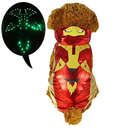 [Pawow LED Light up Iron Man Pet Costume Puppy Dog Hoodie Clothes, Medium, Length 12-inch] (Iron Man Cat Costume)