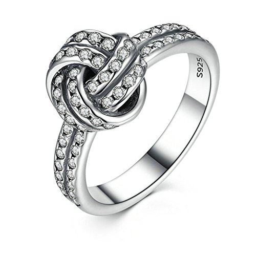 PSRINGS 925 Sterling Silver Sparkling Love Knot Finger Wedding Rings Compatible With Pan Ring Jewelry 7.0