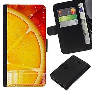 - FOOD HEALTHY ORANGE RED FRUIT FRESH JUICE - - Prima caja de la PU billetera de cuero con ranuras para tarjetas, efectivo desmontable correa para l Funny House FOR Sony Xperia M2