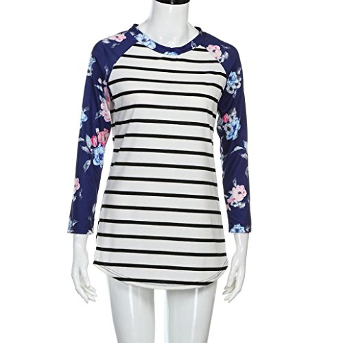 FEITONG Blusa de la impresión floral de la raya de las mujeres Blusa de la camisa de la tapa de la manga de tres cuartos Blanco