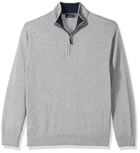Nautica Men's Standard Long Sleeve 1/4 Zip Solid Sweater with Suede Pull Detail, Grey Heather, (Nautica 1/4 Zip Sweater)