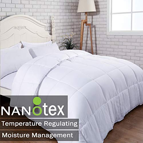 SNUZZZZ Premium Down Alternative Quilted Comforter with Nanotex Coolest Comfort Temperature Regulating, Reversible and All-Season Available, Plush Microfiber Fill, Duvet Insert or Stand-Alone (Queen)