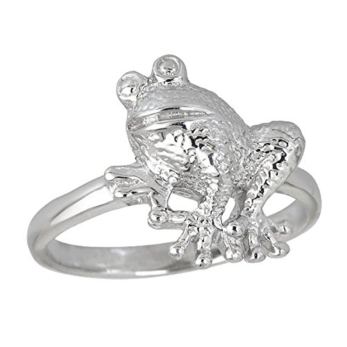 Decadence Sterling Silver Rhodium High Polished Frog Ring, 6
