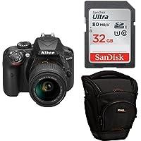 """Nikon D3400 + SDXC de 32 GB + Funda AmazonBasics -  [Versión española con acceso a Nikonistas y 6 cursos gratis] Kit de cámara réflex digital de 24.2 MP con objetivo estabilizado 18-55 AFP DX VR (LCD 3"""", con Snapbridge, vídeo Full HD), color negro"""