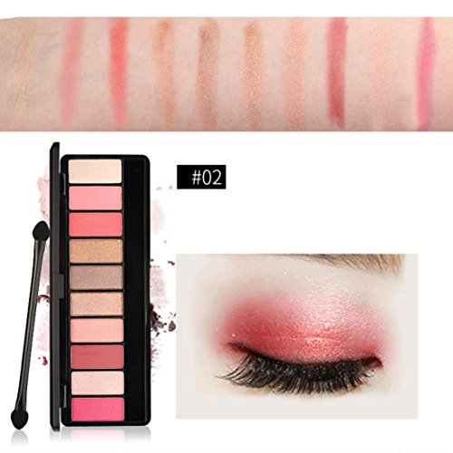 Poluck Eyeshadow Palette for Women Four styles 10Colors Matte Shimmer Natural Nudes Warm Smokey Shades High Pigmented Professional Cosmetic Eye Shadows ( Mirror& Double Ended Brush ) - Metal Shield Eye