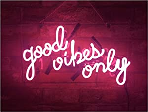 "Realwell Pink Good Vibes Only Neon Sign Room Decor Real Glass Bar Handmade Night Light Gift 14""x 9"""