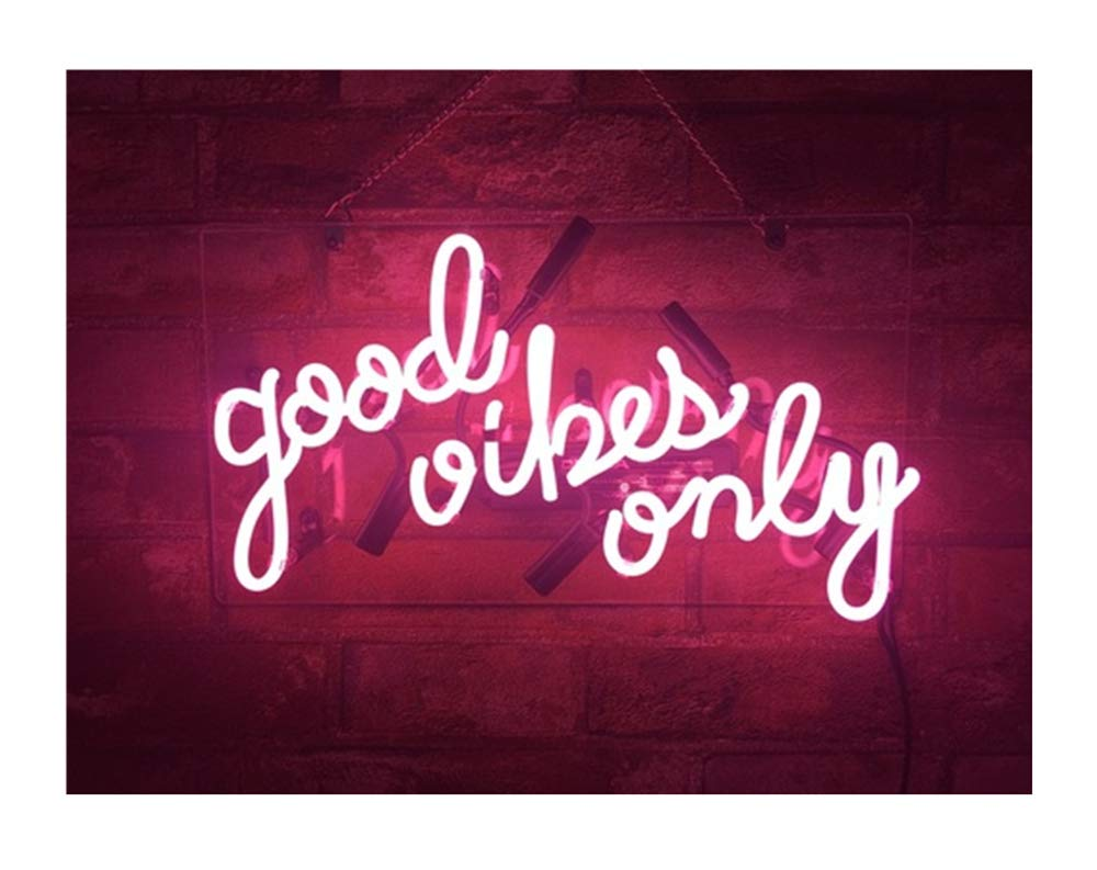 Realwell Pink Good Vibes Only Neon Sign Room Decor Real Glass Bar Handmade Night Light Gift 14''x 9''
