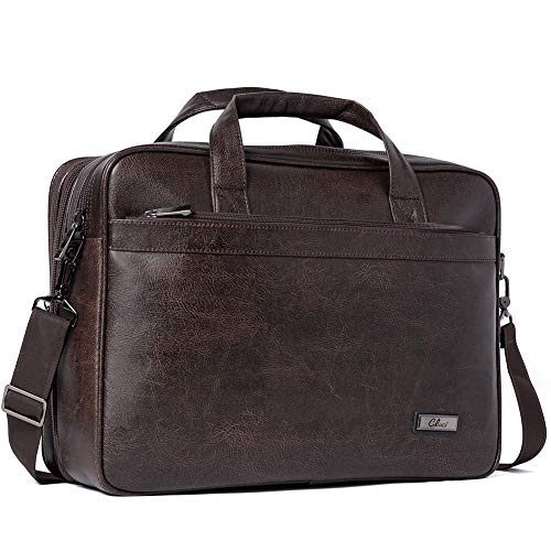 Leather Briefcases for Men 15.6 Inch Laptop Bag Large Capacity Expandable Business Vintage Travel Shoulder Bag Brown