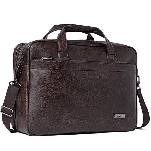 Leather Briefcases for Men 15.6 Inch Laptop Bag Large Capacity Expandable Business Vintage Travel Shoulder Bag Brown