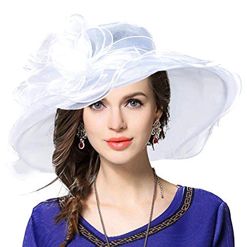 Women's Church Derby Dress Fascinator Bridal Cap British Tea Party Wedding Hat (White)