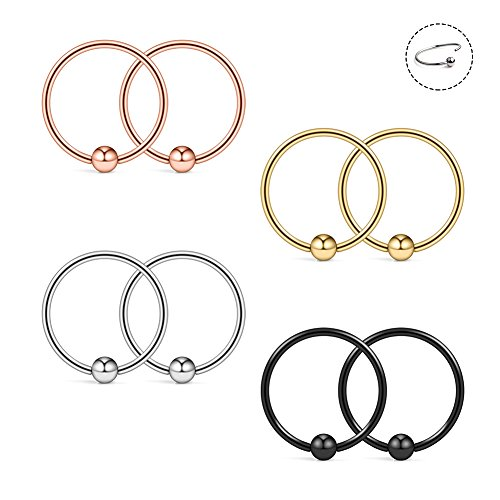 Ruifan 22G 8mm Nose Hoop Lip Eyebrow Tongue Helix Tragus Cartilage Septum Piercing Ring 8PCS - Mix Color (Nose Ring 22 Gold)