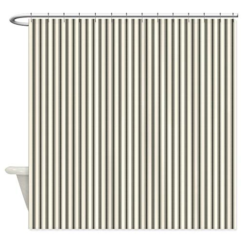 CafePress Black Ticking Decorative Fabric Shower Curtain (69