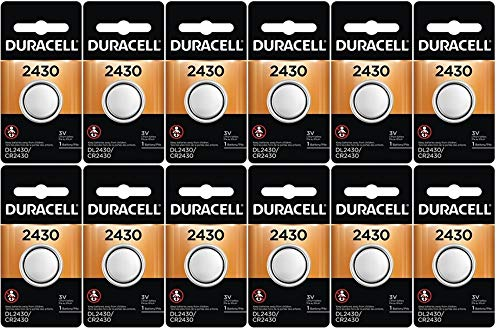 12-Pack Duracell 2430 Batteries 3.0 Volt Lithium Coin Button
