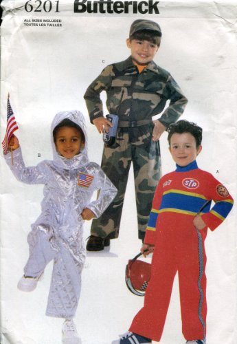 Astronaut Costume Pattern (Butterick Pattern 6201 ~ Children's / Boy's Jumpsuit Costume (Astronaut, Military Camouflage, Race Car Driver) ~ Sizes 2-8)