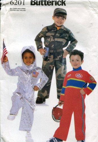 Butterick Pattern 6201 ~ Children's / Boy's Jumpsuit Costume (Astronaut, Military Camouflage, Race Car Driver) ~ Sizes 2-8