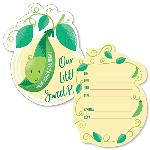 Sweet Pea in a Pod - Shaped Fill-in Invitations - Baby Shower or First Birthday Party Invitation Cards with Envelopes - Set of 12