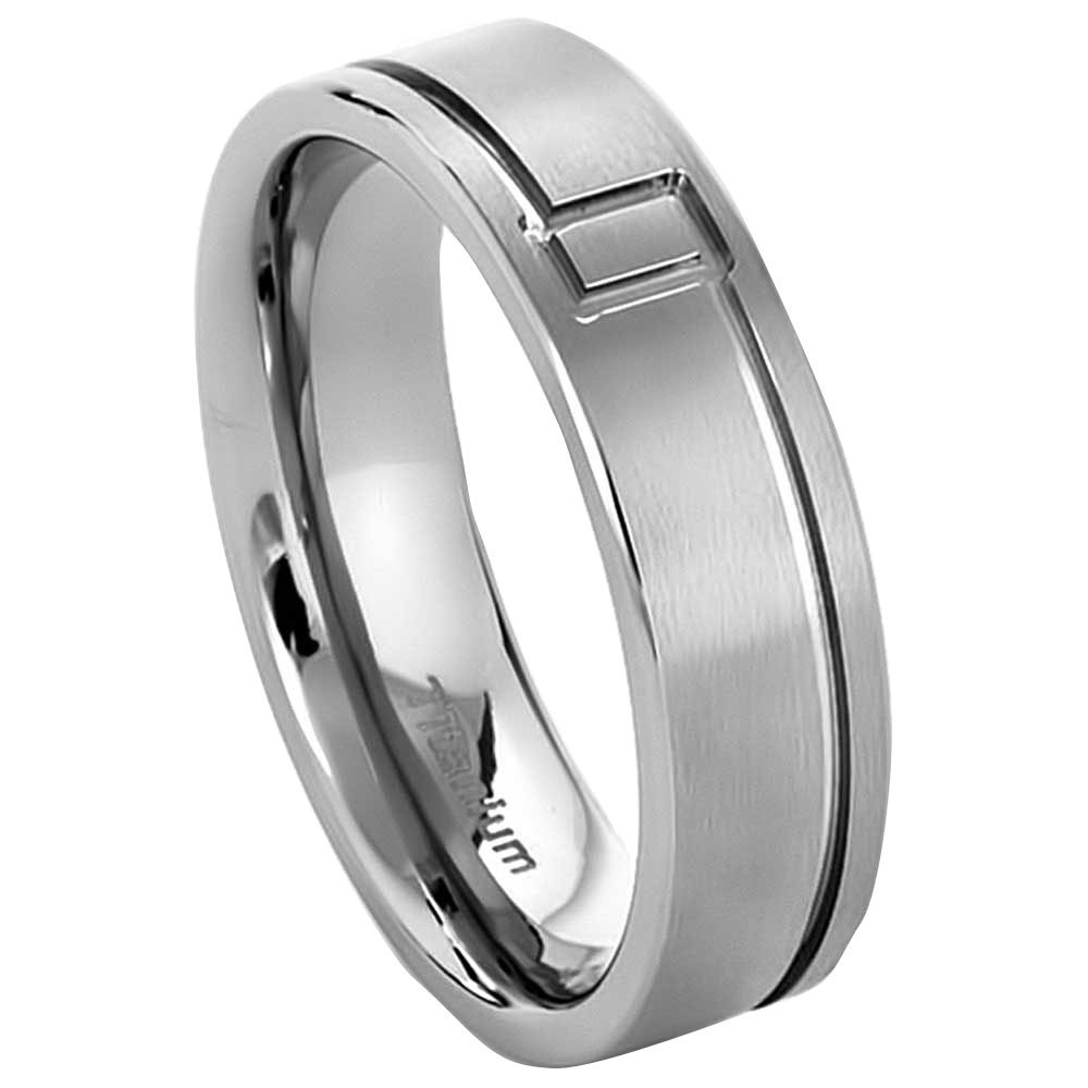 FlameReflection 7mm Mens Titanium Ring Wedding Band Brushed Top Comfort Fit Grooved Size 10-13 SPJ