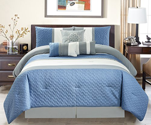 Modern 7 Piece Oversize Grey / Blue / White Embroidered Pin Tuck Comforter Set King Size Bedding with Accent Pillows 104