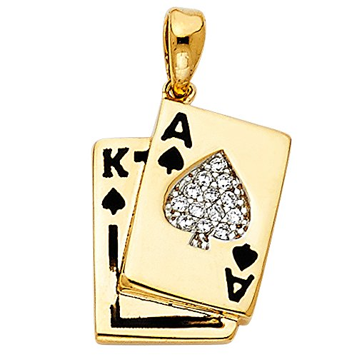 Ioka - 14K Yellow Gold Cubic Zirconia CZ Spade Ace & King Card Charm Pendant For Necklace or Chain