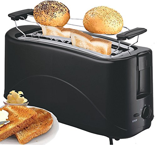 Toaster 4 Scheiben Langschlitz Toster Toastautomat 1300 Watt Schwarz, Pink (Black)