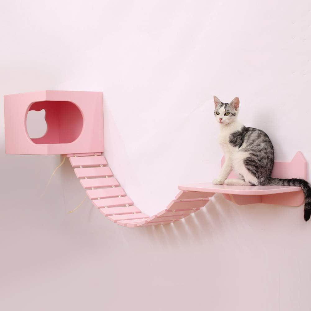 ZWW Árbol De Gato, De Madera Montado En La Pared Escalada De Gatos Cuadro con Gato Casa Saltando Plataforma Sisal Escalera,Rosado: Amazon.es: Hogar