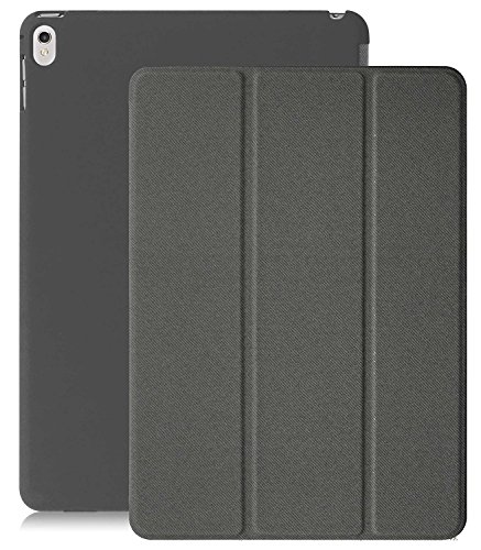 KHOMO iPad Pro 9.7 Inch Case (2016) - DUAL Twill Grey Super Slim Cover with Rubberized back and Smart Feature (Built-in magnet for sleep / wake feature) For Apple iPad Pro 9.7 Tablet