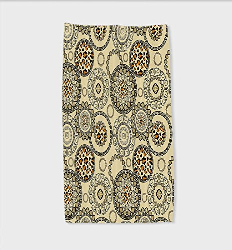 Sophie 11.8W x 27.5L Inches Custom Cotton Microfiber Ultra Soft Hand Towel Animal African Safari Patterns Cheetah Skin Wild Theme Neutral Color Decoration Fabric Decor with Long Cinnamon and Beige (Bahama Beige Finish)