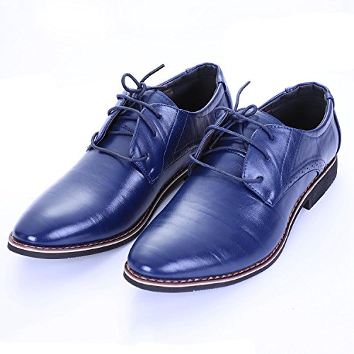 SODIAL Haute Qualite Hommes Chaussures Brogues Lacets Boeuf Robe D'affaires Hommes Oxfords Chaussures Male Chaussures de Travail Chaussures Formelles (Noir 38) Bleu sBkfAhTy0y