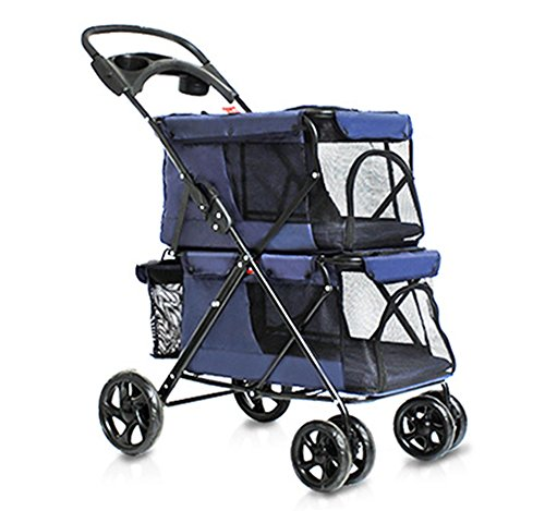 bluee Four wheels Pet Stroller Lightweight Folding Double Layer Cat&Dog Large Space Cart Cage Outdoor Travel. Cacoffay